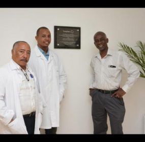 Three of the four surgeons who performed the groundbreaking thorax operation at the Hospiten hospital in Rose Hall, St James, recently. From left: Dr Omar Savon, Dr Dwayne Hall and Dr Leighton Perrins.
