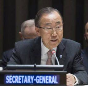 Secretary-General Ban Ki-moon addresses an informal meeting of the General Assembly on the United Nations' new approach to cholera in Haiti. UN Photo/Eskinder Debebe